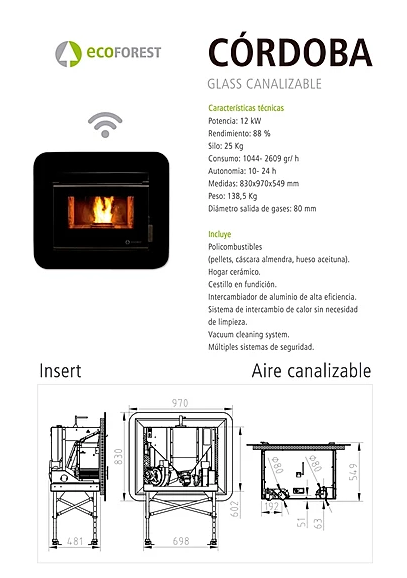ECOFOREST model CÓRDOBA GLASS de 12 Kw