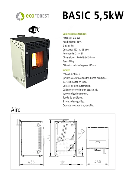 ECOFOREST model BASIC de 5,5 kW